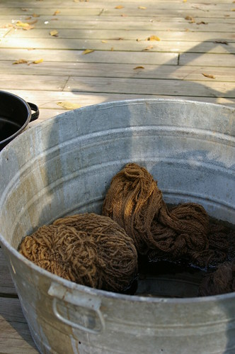 walnut yarn in the big bucket