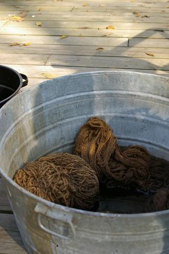 walnut yarn in the big bucket
