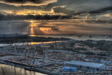 Sunrise from The Sail on 34th floor, construction of Sands Integrated Resort