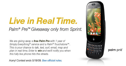 sprint palm pre giveaway contest