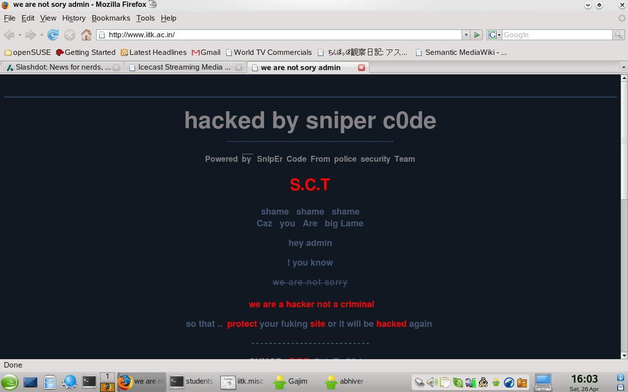 Hacked on 26th April, 2008. PageDown
