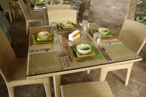 Furniture at the restaurant at Bamboo Beach