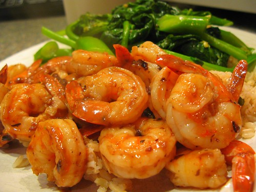 Shrimp with Black Bean Sauce and Gai Lan by you.