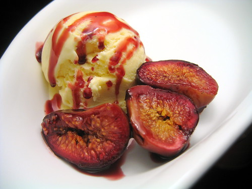 port poached figs & creme fraiche ice cream