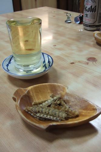 Sake and hone senbei