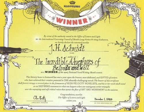 NaNoWriMo Winner Certificate