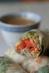 Turkey spring roll cut