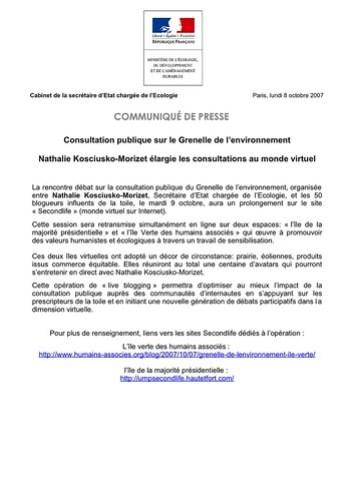 Consultation publique sur le Grenelle de l'environnement (Ile Verte, Second life)