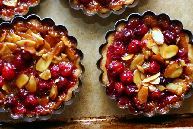 cranberry, caramel and almond tartlet