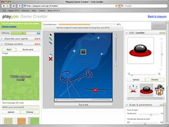 Screenshot of a Line Lander game in progress in the Playyoo Game Creator