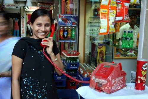 Using the public phone in India