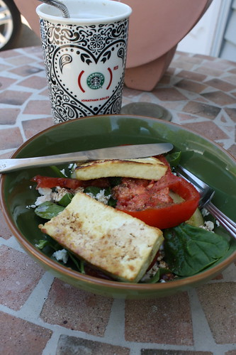 salad with tofu, iced coffee al fresco