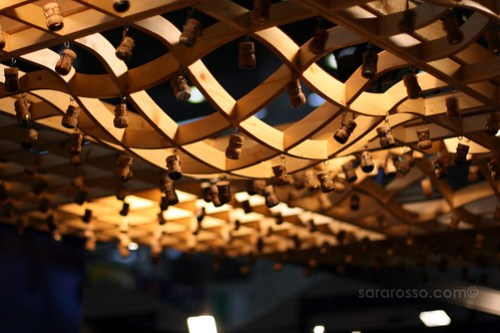 Corks decorating the ceiling at Salone del Gusto in Turin