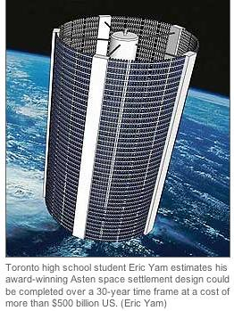 Toronto high school student Eric Yam estimates his award-winning Asten space settlement design could be completed over a 30-year time frame at a cost of more than $500 billion US.
