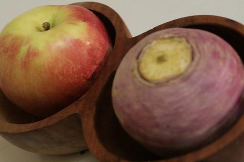 Honeycrisp apple and Puple Top Turnip