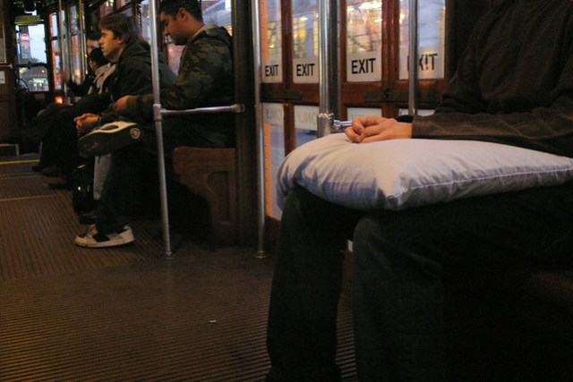 On the F Market with a pillow..