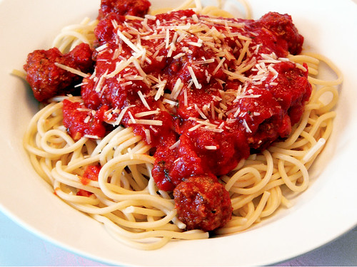 spaghetti with pork meatballs