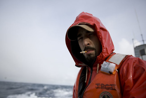 Josh Harris fishing aboard the Cornelia Marie. (Photo courtesy of Discovery)