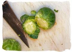 cutting end of brussel sprout