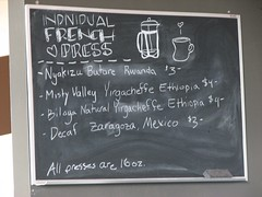 Octane French Press Menu