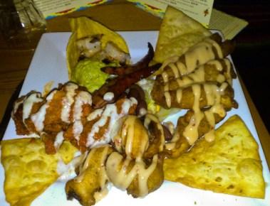 Tapas platter (Buffalo wings, Chicken tenderloin, monterey prawns, guacamole)