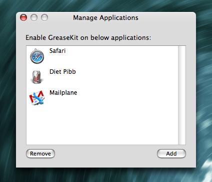 GreaseKit - Manage Applications