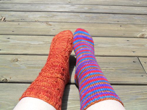 Far Away Vanilla and Stricken socks
