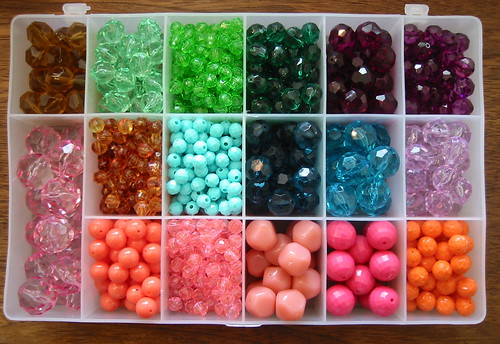 vintage beads for earrings - brights