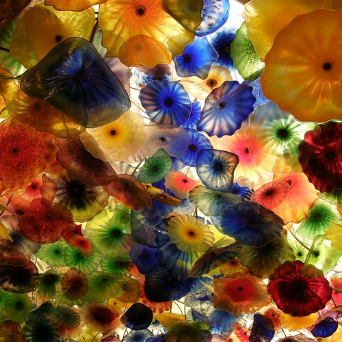 Ceiling of glass flowers by Dale Chihuly.Bellagio, Los Angeles, Nevada.