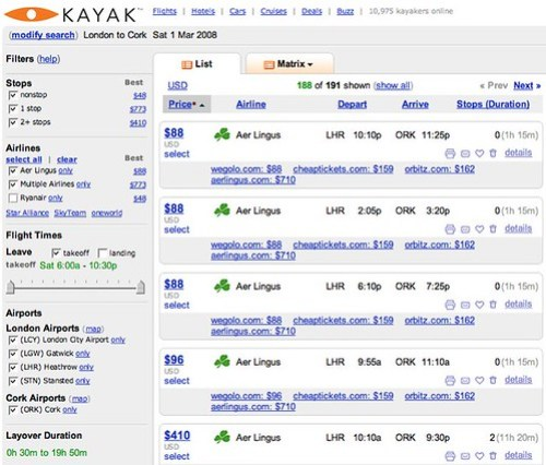 Kayak.com LON - ORK