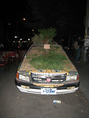 Green car in Kensington Market