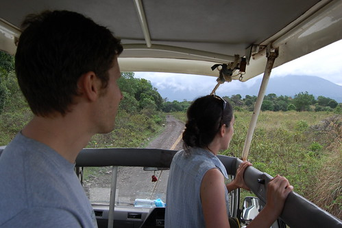 Ned and Emily in the safari van