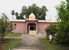 Goddess shrine and the Amutha Theertha well in front