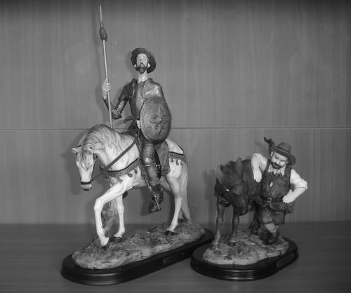 Don Quijote de la Mancha y Sancho Panza B/N