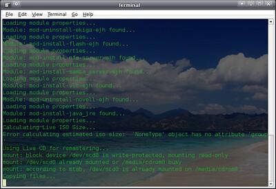 Start Reconstructor - terminal Message