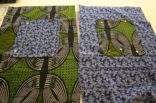 ribbon tote tutorial, pockets pinned