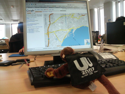 El mono geolocalizador en plena faena