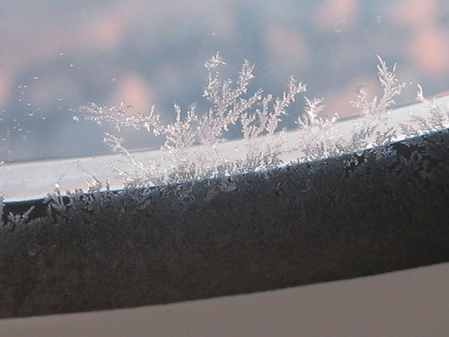 Frost on the plane window