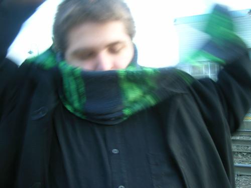 Dan wraps his scarf.