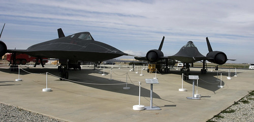 SR-71 and A-12 at Blackbird Park, Palmdale Calif. Flickr photo by kaszeta