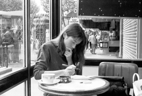 writing at a table