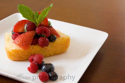 Mixed Berries with Limoncello on Lemon Yogurt Cake