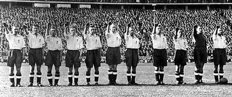 British Footballers give the Nazi salute during the 1938 Olympics