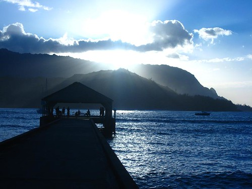 sunset at hanalei