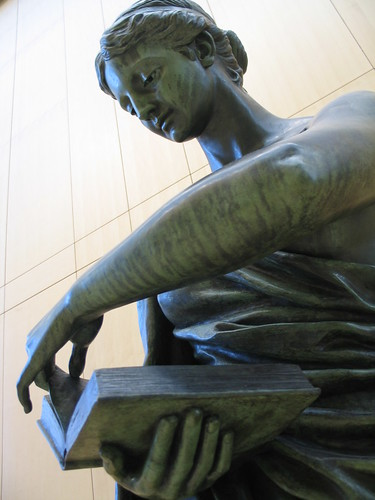 Minerva, 1889 - 1890, Roman goddess of poetry, music, wisdom, and warriors (Greek, Athena), bronze sculpture by Norwegian American artist, Jakob H. F. Fjelde, downtown Minneapolis Central Library, Minneapolis, Minnesota, photo © 2008 by QuoinMonkey. All rights reserved.