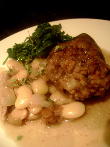 Stuffed Heart with butter beans and wilted spinach