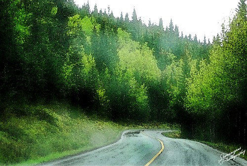 green road watercolor