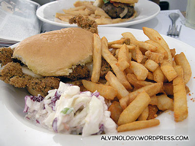 My Pork Cutlet Sandwich with Sour Cream and Onion fries
