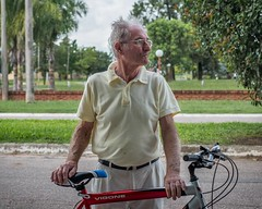 """Day 644. I met Mauricio Bonetti as I was leaving the small town María Luisa. He rolled up on his bike to talk for a bit. He was a carpenter teacher for years, but now helps raise his grandchildren. """"There are lots of children of immigrants here; Germans,"""