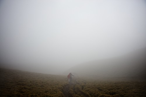 Hiking through the mist